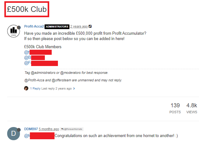 Profit Accumulator £500k club