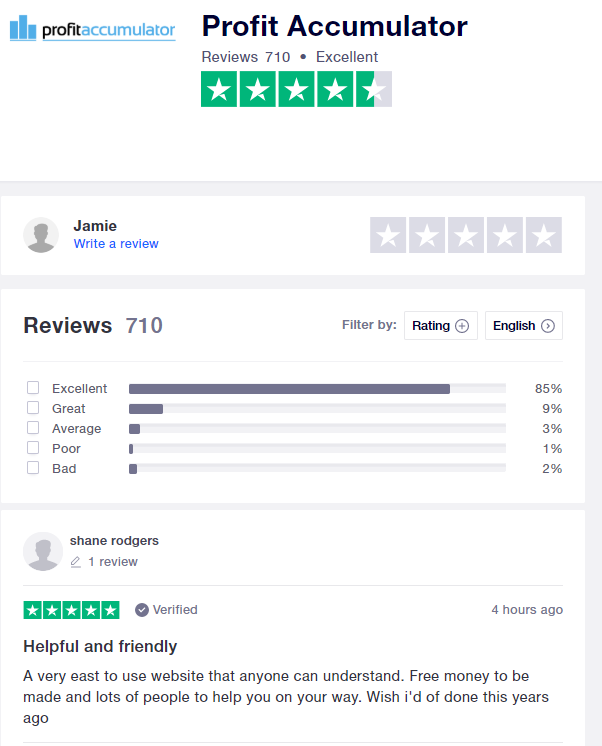 Profit Accumulator Trust Pilot reviews